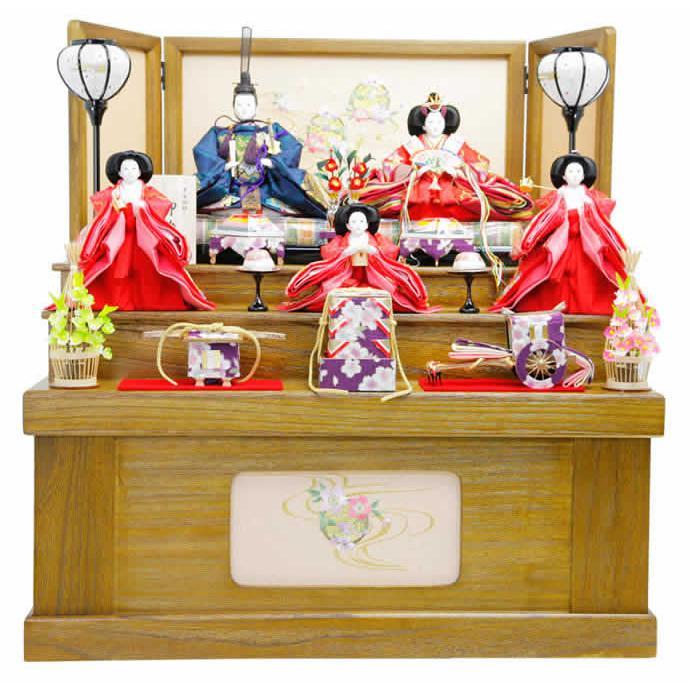 雛人形 ひな人形 雛 収納飾り 三段飾り 五人飾り 御雛 平安調飾り mi-7503