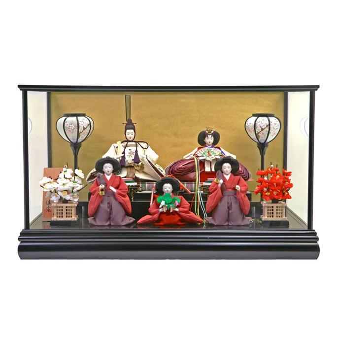 雛人形 ひな人形 雛 ケース飾り 五人飾り 佳宗作 h243-sk-k03-600b
