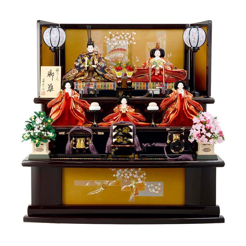広告の品 雛人形 ひな人形 雛 五人飾り 三段飾り 梓 葡萄塗り 御雛 雅なこころ 木製三段 h263-sb-azusa