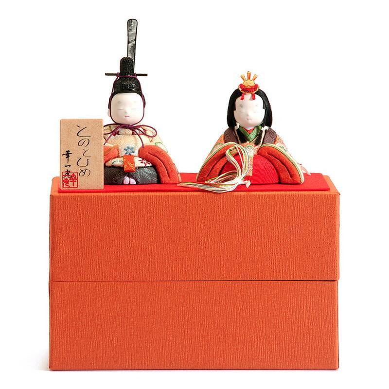 雛人形 幸一光 コンパクト ひな人形 雛 木目込人形飾り 平飾り 親王飾り 和works とのとひめ 化粧箱 h283-koi-miww90