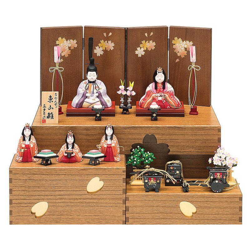 【新発売】 真多呂 五人飾り コンパクト収納飾り 東山雛 木目込人形飾り 真多呂作 古今人形 ひな人形 雛 h023-mt-1370 雛人形-記念、行事用品