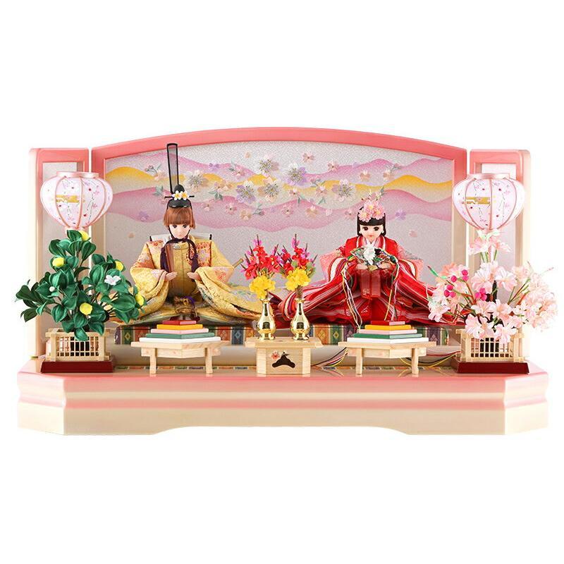 雛人形 ひな人形 リカちゃん 久月 ひな人形 平飾り 親王飾り シリアル入 h313-ri-244