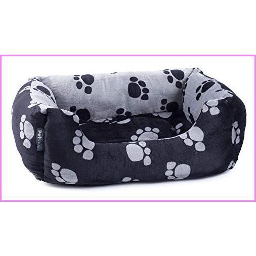 【送料無料】Petface Paw Print Plush Square Dog Bed, Black/Grey, Large【並行輸入品】