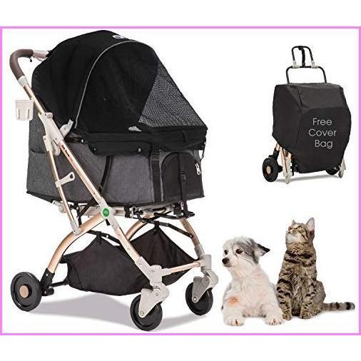 【送料無料】HPZ Pet Rover Lite Travel Stroller for Small & Medium Dogs, Cats & Pets (Black)【並行輸入品】