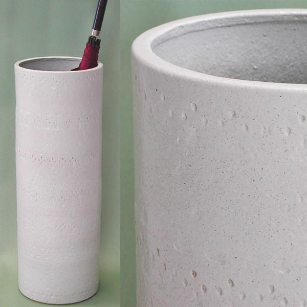 傘立て ふるさと割 おしゃれ 和モダン インテリア 国内送料無料 陶器 白たたき アイボリー スリムロング 信楽焼