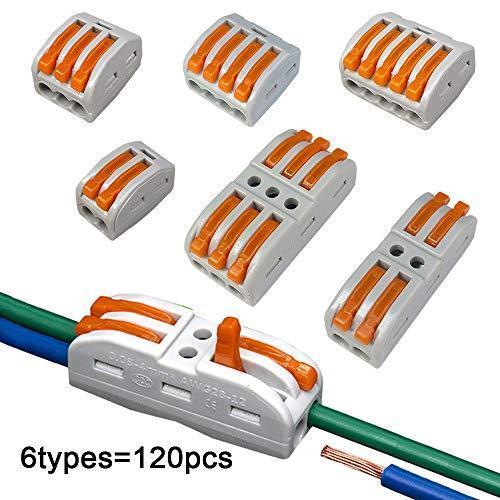 FULARRR 120個 プレミアム プレミアム レバーナットワイヤコネクタキット、導体コンパクトワイヤコネクタ、ワンタッチコネクター (PCT-21|atdesign