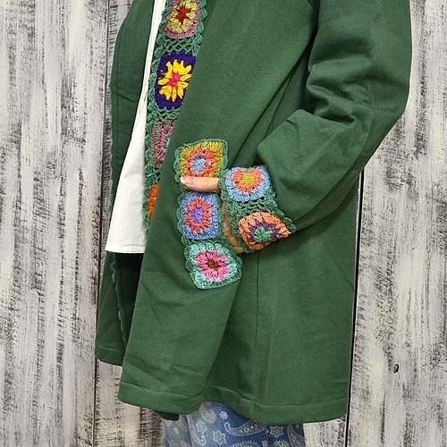 ネパール製 カラフル クロシェ デザイン パーカー フード付き コート〈コン/モカチャ〉綿100% アジアン エスニック 送料無料|atelier-ayumi|05