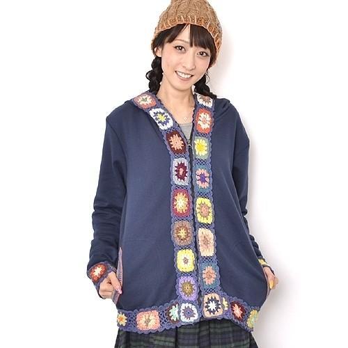 ストレッチ クロシェ デザイン パーカー フード付き コート〈コン/モカチャ〉綿100% アジアン エスニック ジャケット ネパール製 送料無料 atelier-ayumi 04