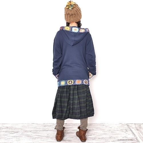 ストレッチ クロシェ デザイン パーカー フード付き コート〈コン/モカチャ〉綿100% アジアン エスニック ジャケット ネパール製 送料無料 atelier-ayumi 05