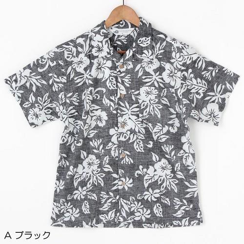 メンズ アロハ シャツ コットン  ハイビスカス柄 〈ブラック〉M/L/LL サイズ コットン 100% ハワイアン  アロハシャツ 綿|atelier-ayumi