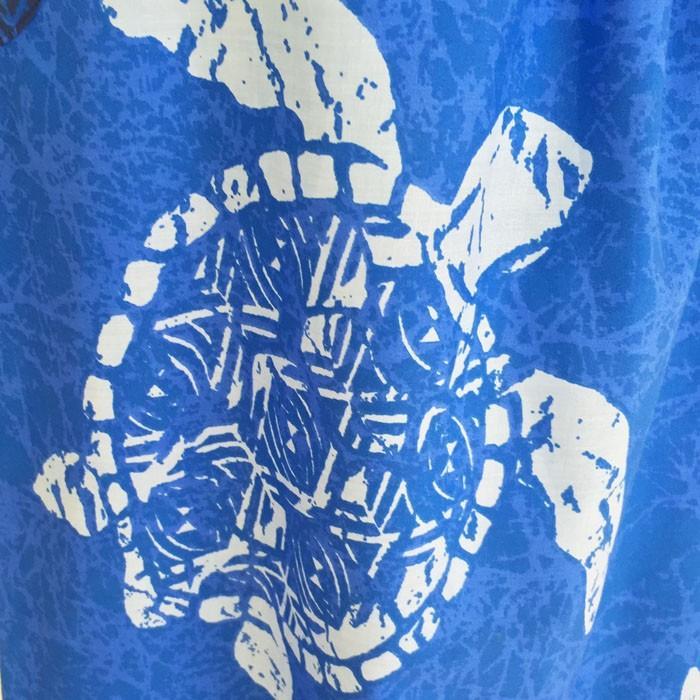 キャミソール ワンピース ドレス ホヌ & タパ柄〈ブルー〉 送料無料 クリックポスト ハワイアン ファブリック Made in JAPAN 日本製|atelier-ayumi|03
