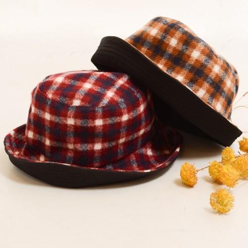 タータン チェック ボア リバーシブル バケット ハット 〈ワイン キャメル〉綿100% レディース帽子 メンズ帽子 送料無料 Fillil フィリル 森ガール 山ガールに atelier-ayumi