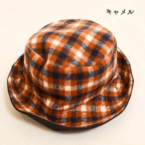 タータン チェック ボア リバーシブル バケット ハット 〈ワイン キャメル〉綿100% レディース帽子 メンズ帽子 送料無料 Fillil フィリル 森ガール 山ガールに atelier-ayumi 05