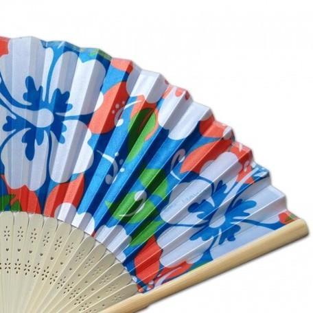 ハワイアン柄 扇子 〈 ブルー ハイビスカス  〉バンブーファン ハワイアン雑貨 リゾート柄 虹 浴衣 和装に クリックポスト対応可能 うちわ|atelier-ayumi|04