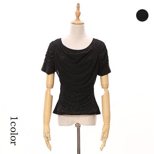 半袖T ラインストーン ドレープカットソー ブラック 送料無料 クリックポスト  ハワイアン ストレッチ ダンスTシャツ 半袖フラTシャツ|atelier-ayumi