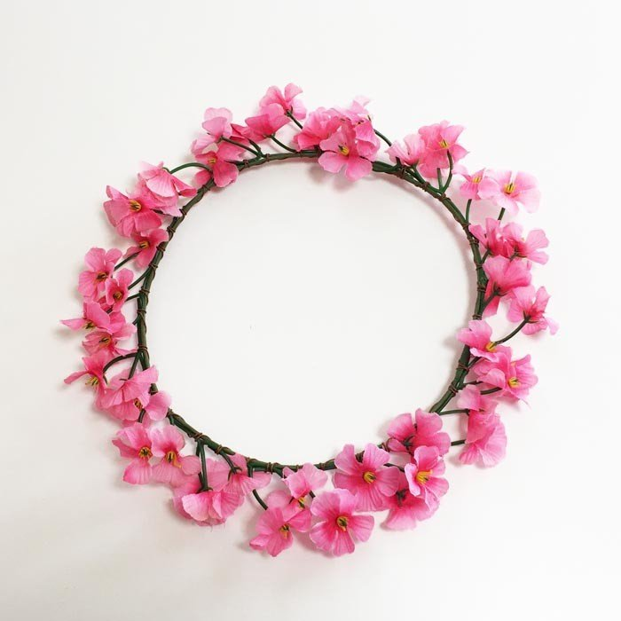 花冠 (花かんむり) 小花 ピンク 髪飾り ハワイアンヘッドバンド フラワーハク フラダンス ハワイアンレイ フラワーレイ atelier-ayumi