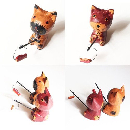 のんびりと釣りをする木彫りネコ〈クリーム/ブラウン〉アニマル オブジェ 木彫り アジアン雑貨 バリねこ 猫 手作りバリ木彫・置物|atelier-ayumi|02