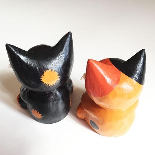 プルメリア をつけた アニマル カレンダー〈 三毛猫 黒猫 〉 木彫り オブジェ アジアン雑貨 インドネシア バリネコ ねこ ネコ CAT|atelier-ayumi|02