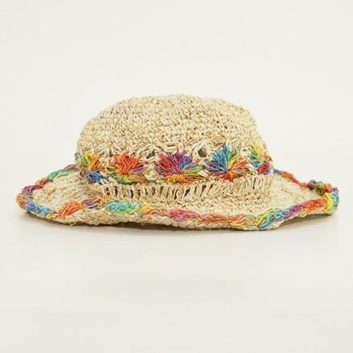 ワイヤー入り ヘンプハット フラワー クロシェ カラフル 縁取り〈 レインボー ベージュ〉ナチュラル リゾート 自然素材帽子 ネパール製 送料無料 ハット|atelier-ayumi|02