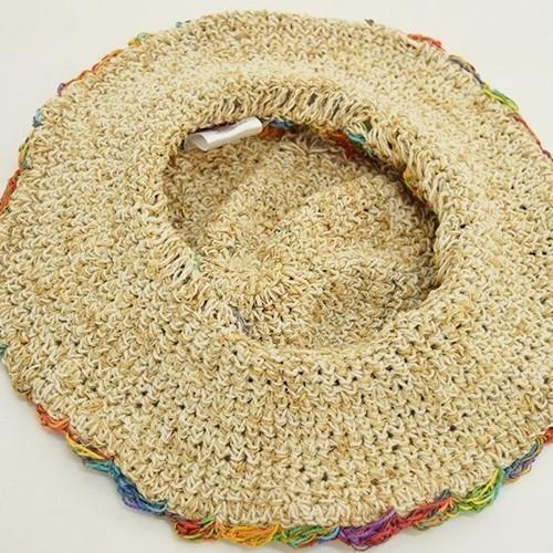 ワイヤー入り ヘンプハット フラワー クロシェ カラフル 縁取り〈 レインボー ベージュ〉ナチュラル リゾート 自然素材帽子 ネパール製 送料無料 ハット|atelier-ayumi|04