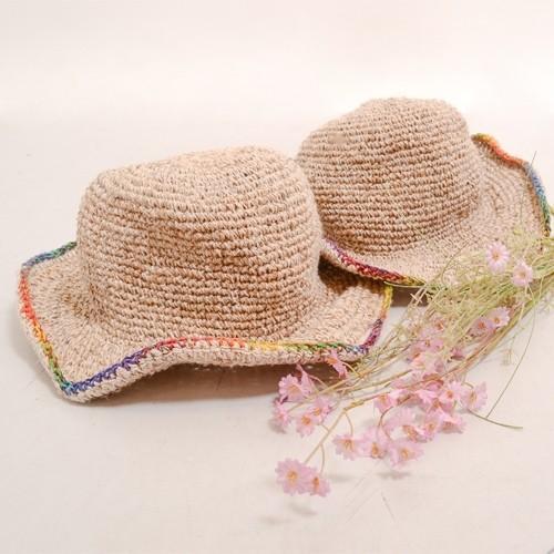 ワイヤー入り ヘンプハット カラフル 縁取り ツバ〈 レインボーカラー ベージュ〉ナチュラル リゾート 自然素材帽子 ネパール製 送料無料 ハット|atelier-ayumi