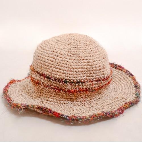 ワイヤー入り ヘンプハット ダブル ライン カラフル 縁取り ツバ〈 ベージュミックスシルク 〉ナチュラル リゾート 自然素材帽子 ネパール製 送料無料 ハット|atelier-ayumi