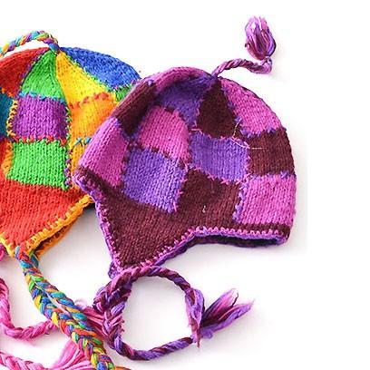 パッチワーク 風 カラフル チェック ニット帽〈パープル&ピンク〉送料無料 ウール ネパール製 レディース 帽子 ビーニー ブロックチェック|atelier-ayumi