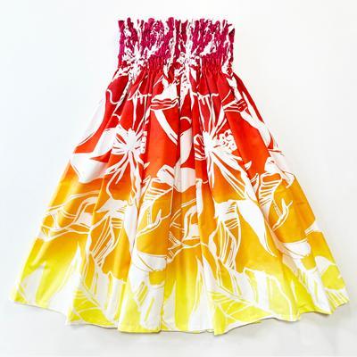 パウスカート 4本ゴム 72cm タパ柄 グラデーション ティアレ ブラウン ピンク 送料無料 ハワイアン フラダンス衣装