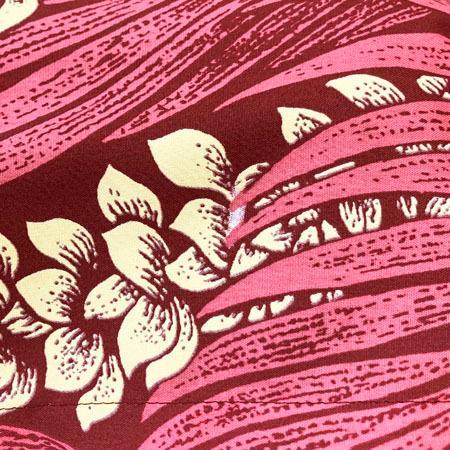 パウスカート 67cm 72cm 77cm プアケニケニレイ 総柄 レッド リーフ レイ 送料無料 ハワイアン フラダンス 衣装 4ヤードパウ 日本製 ハンドメイド ワイン|atelier-ayumi|06