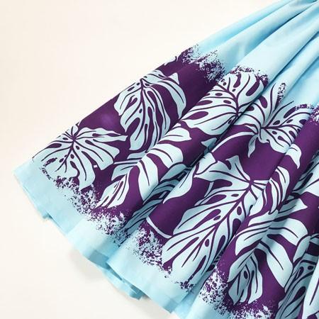 パウスカート モンステラ オン ザ ビーチ 77cm〈ペール ブルー&パープル〉  送料無料 ハワイアン フラダンス リーフ 水色 紫 ボーダー 日本製|atelier-ayumi|02