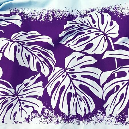 パウスカート モンステラ オン ザ ビーチ 77cm〈ペール ブルー&パープル〉  送料無料 ハワイアン フラダンス リーフ 水色 紫 ボーダー 日本製|atelier-ayumi|03