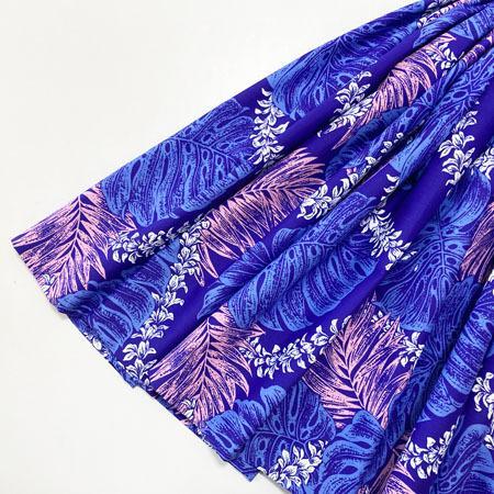パウスカート 72cm モンステラ パームリーフ レイ ファーン 総柄  パープル  送料無料 4本ゴム ハワイアン フラダンス 衣装 4ヤードパウ 日本製 紫 ハンドメイド|atelier-ayumi|02