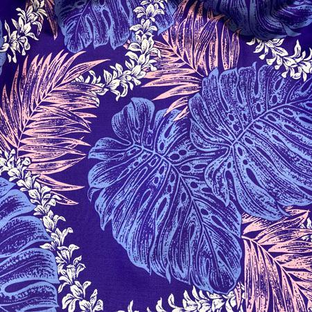 パウスカート 72cm モンステラ パームリーフ レイ ファーン 総柄  パープル  送料無料 4本ゴム ハワイアン フラダンス 衣装 4ヤードパウ 日本製 紫 ハンドメイド|atelier-ayumi|03