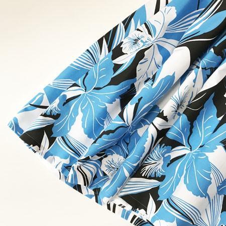 パウスカート ウエスト無地 67cm 72cm 77cm オーキッド カトレア 柄〈ホワイト ブルー ブラック〉  送料無料 ハワイアン フラダンス衣装 日本製 洋蘭|atelier-ayumi|02