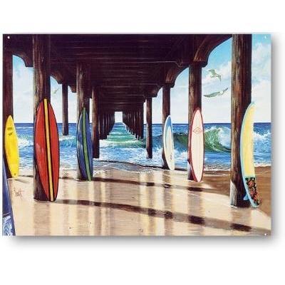 〈ブリキ看板〉桟橋の下のカラフルサーフボード〈ハワイアン雑貨〉〈アメリカン雑貨〉ティンプレート・ティンサイン・サインプレート ハワイアンインテリア|atelier-ayumi