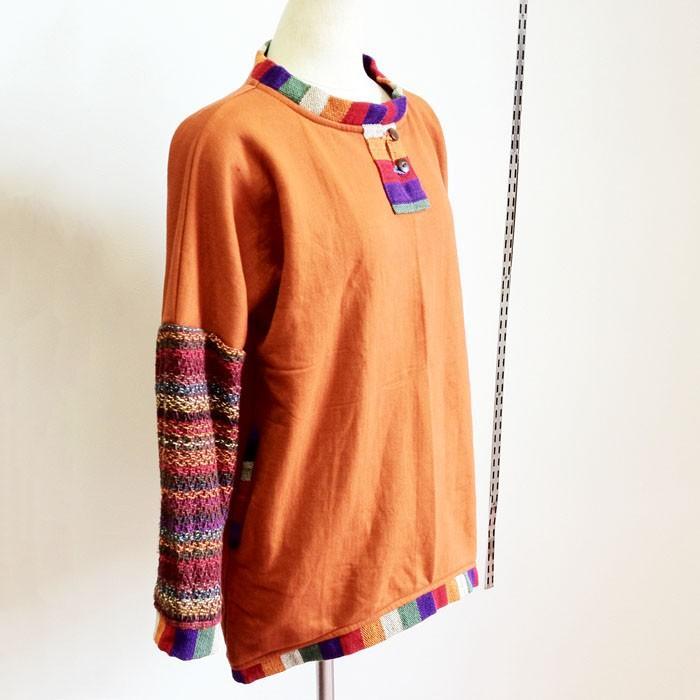 裏起毛 ♪ ゲレ生地&マルチボーダー 切り替え プルオーバー トップス ネパール製〈オレンジ〉 エスニック 送料無料|atelier-ayumi
