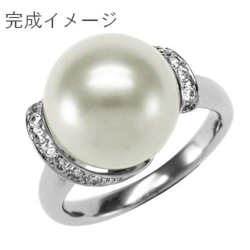 ジュエリーリフォーム、指輪リフォーム リング空枠12mmパール·丸玉用/メレライン