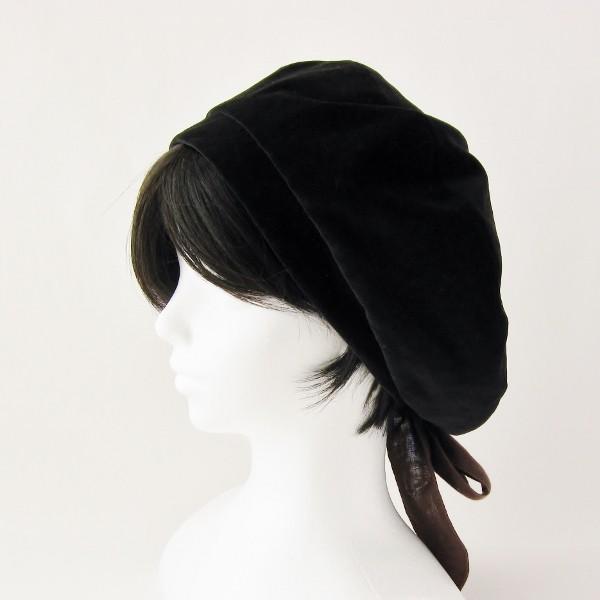 リバーシブルのリボン付ベレー帽 サイズ調整可能 焦げ茶の別珍と茶グレーチェックのネル 抗がん剤等脱毛時の帽子にも使える ケア帽子 医療用帽子|atelierf
