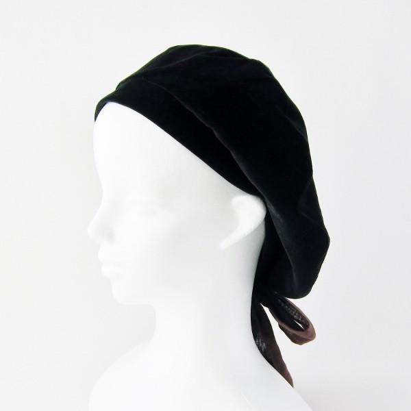 リバーシブルのリボン付ベレー帽 サイズ調整可能 焦げ茶の別珍と茶グレーチェックのネル 抗がん剤等脱毛時の帽子にも使える ケア帽子 医療用帽子|atelierf|11