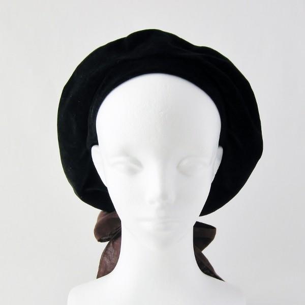 リバーシブルのリボン付ベレー帽 サイズ調整可能 焦げ茶の別珍と茶グレーチェックのネル 抗がん剤等脱毛時の帽子にも使える ケア帽子 医療用帽子|atelierf|12