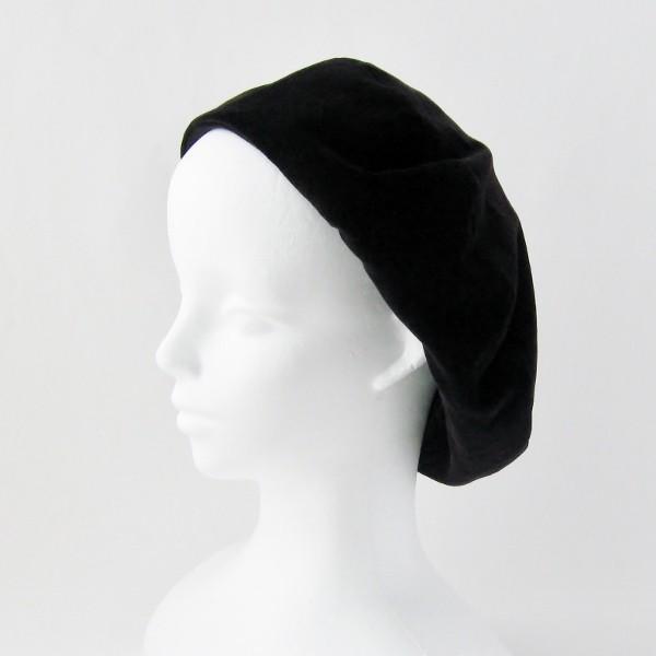 リバーシブルのリボン付ベレー帽 サイズ調整可能 焦げ茶の別珍と茶グレーチェックのネル 抗がん剤等脱毛時の帽子にも使える ケア帽子 医療用帽子|atelierf|13