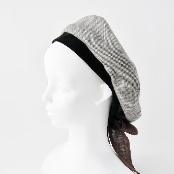 リバーシブルのリボン付ベレー帽 サイズ調整可能 焦げ茶の別珍と茶グレーチェックのネル 抗がん剤等脱毛時の帽子にも使える ケア帽子 医療用帽子|atelierf|14