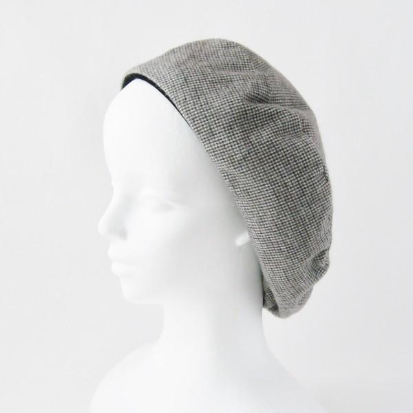 リバーシブルのリボン付ベレー帽 サイズ調整可能 焦げ茶の別珍と茶グレーチェックのネル 抗がん剤等脱毛時の帽子にも使える ケア帽子 医療用帽子|atelierf|15