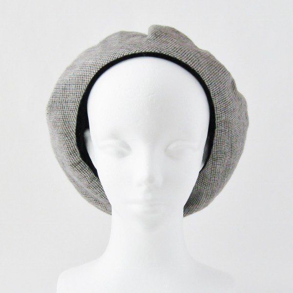 リバーシブルのリボン付ベレー帽 サイズ調整可能 焦げ茶の別珍と茶グレーチェックのネル 抗がん剤等脱毛時の帽子にも使える ケア帽子 医療用帽子|atelierf|16