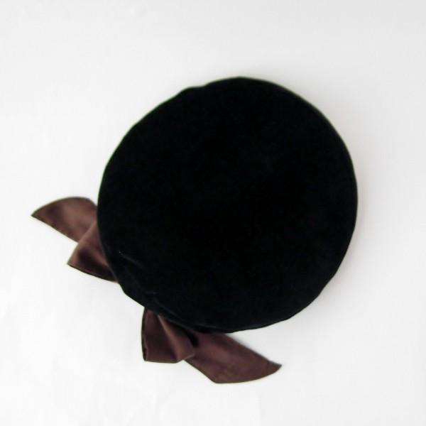 リバーシブルのリボン付ベレー帽 サイズ調整可能 焦げ茶の別珍と茶グレーチェックのネル 抗がん剤等脱毛時の帽子にも使える ケア帽子 医療用帽子|atelierf|17