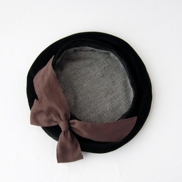 リバーシブルのリボン付ベレー帽 サイズ調整可能 焦げ茶の別珍と茶グレーチェックのネル 抗がん剤等脱毛時の帽子にも使える ケア帽子 医療用帽子|atelierf|18