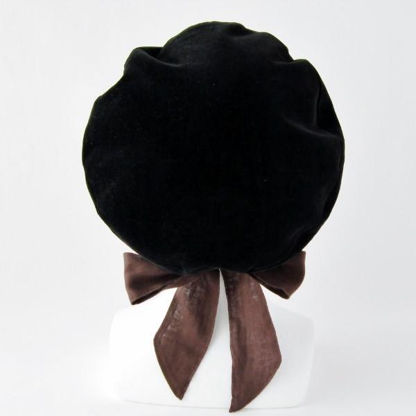 リバーシブルのリボン付ベレー帽 サイズ調整可能 焦げ茶の別珍と茶グレーチェックのネル 抗がん剤等脱毛時の帽子にも使える ケア帽子 医療用帽子|atelierf|03