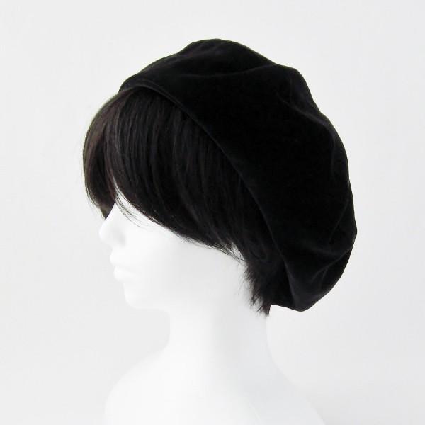 リバーシブルのリボン付ベレー帽 サイズ調整可能 焦げ茶の別珍と茶グレーチェックのネル 抗がん剤等脱毛時の帽子にも使える ケア帽子 医療用帽子|atelierf|05