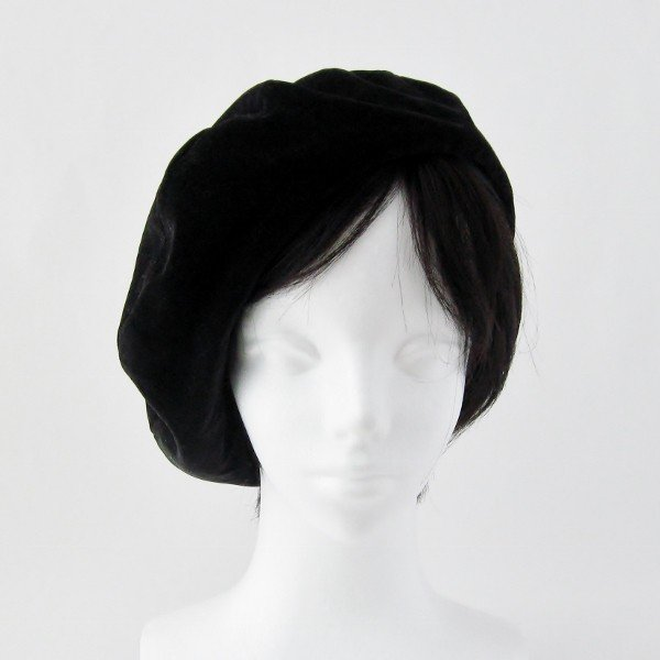 リバーシブルのリボン付ベレー帽 サイズ調整可能 焦げ茶の別珍と茶グレーチェックのネル 抗がん剤等脱毛時の帽子にも使える ケア帽子 医療用帽子|atelierf|06