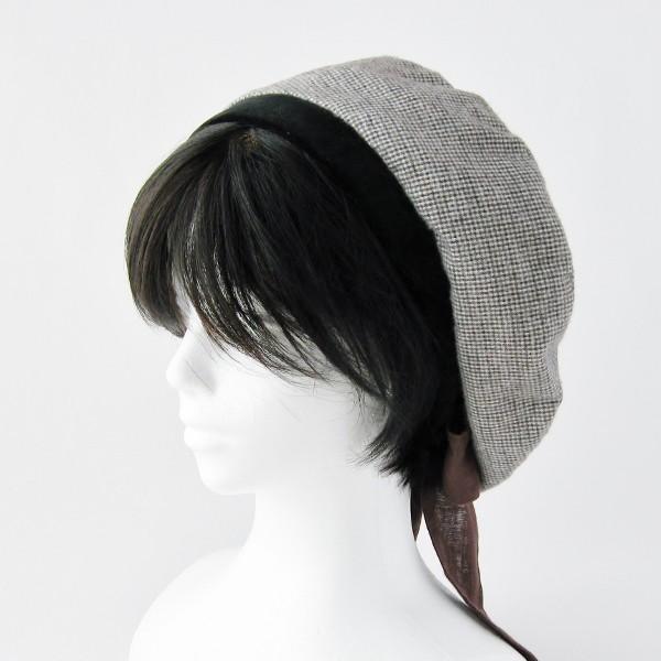 リバーシブルのリボン付ベレー帽 サイズ調整可能 焦げ茶の別珍と茶グレーチェックのネル 抗がん剤等脱毛時の帽子にも使える ケア帽子 医療用帽子|atelierf|07